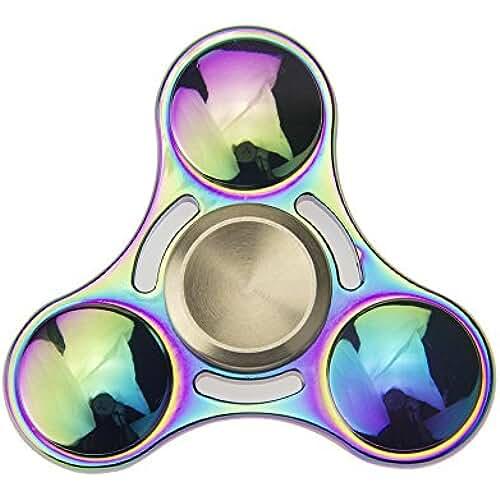 fidget spinner el nuevo juguete de moda Mano Fidget Spinner Multicolor Multicolor Rainbow, 8minutos Deutsche Almacén spinnere metal, dedos Tip Gyro EDC Tri Spinner (redondas)