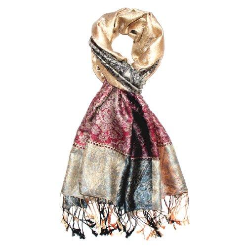 LORENZO CANA Luxus Pashmina Schal Schaltuch jacquard gewebt 100% Seide 70 x 190 cm Paisley Muster Seidenschal Seidentuch Seidenpashmina harmonische Farben (Woll-rock Paisley)