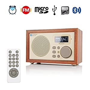 Instabox i50 Casse digitali Multi-funzione di legno con Bluetooth, Radio FM, Sveglia, MP3 Player, supporta Micro SD/TF Card e USB, con telecomando