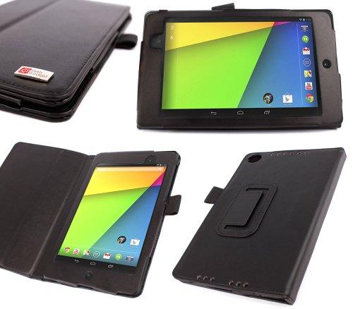 Duragadget Etui aspect cuir noir support arrière intégré pour Google Nexus 7 2/7 II d'Asus, 16GB, 32GB Wifi, tablette Android 4.3 Jelly Bean Snapdragon S4 – Garantie 5 ans