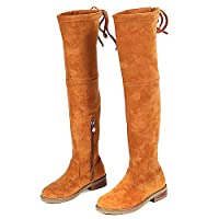UBELLA Little Girls Suede Leather Zipper Knee-high Long Boots Brown Size: 12.5M US Little Kid
