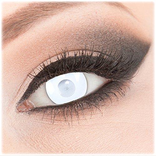 Farbige weiße weisse Crazy Fun Kontaktlinsen 1 Paar 'Blind White' mit Kombilösung (60ml) + Behälter - Topqualität von 'Evil Lens' zu Fasching Karneval Halloween ohne Stärke