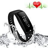 Orologi Intelligenti Best Deals - RIVERSONG®Fitness Tracker Heart Rate Monitor di pressione sanguigna Bracciale sedentario Ricordando sonno Alarm Management SNS chiamata di promemoria Contapassi Sport sana attività Wristband con Touch Screen OLED intelligente orologio per Android iOS smar