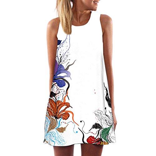 MRULIC Damen Lovely Mini Floral Printing A-Linie Kleider Beach Dress Vintage Boho Frauen Sommer Ärmelloses Party Kleide (Blumen-mädchen-kleider Gold Elfenbein)