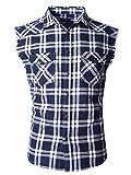 Nutexrol Herren Ärmelloses Kariertes Oversize Hemd Freizeithemd Sleeveless Shirt 2XL