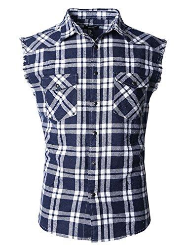 Nutexrol Herren Ärmelloses Kariertes Oversize Hemd Freizeithemd Sleeveless Shirt XL