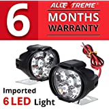 AllExtreme EX6FW2P SHILAN Imported 6 LED Fog Light Mirror Mount Driving Spot Head Lamp for Motorcycle and Cars (10W, White, 2 PCS)