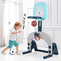 Basketball Hoop Set, 3-in-1 Kids Basketball Stand Sports Activity Center Adjustable Easy Score Basketball Hoop, Football / Soccer Goal / Ring Toss, Best Gift for Toddlers and Kids