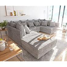 Couch Clovis Hellgrau Strukturstoff mit Hocker Wohnlandschaft Modulsofa