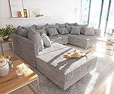 DELIFE Couch Clovis modular - Ecksofa, Sofa, Wohnlandschaft & Modulsofa (Hellgrau, Sofa mit Hocker)