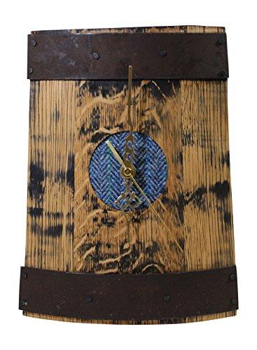 Reza Holz Whisky Barrel Tabletop Schreibtisch Uhr mit Blau Harris Tweed