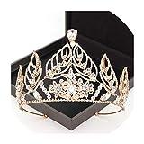 Luxury Tiaras Floral Style Rhinestone Crown Princess Women Hair Ornaments Wedding Bridal Wedding Hair Accessories,Gold-Color