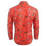 2018JYJM Weihnachten 3D Herren Casual Weihnachtsbaum Gedruckt Langarm Umlegekragen Hemd Top Bluse Herren Leicht Mantel mit Wasserfallkragen Kordel Tasche Locker Knielang Outwear Jacke