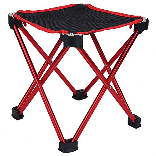 Chaise de pêche Portable et Pliant Siège Durable de Camping Tabouret avec Sac pour Pique-Nique Randonnée Activités de Plein Air (rouge )