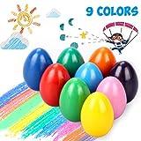 Emooqi Regalo de Pascua Crayones De Huevo, 9 Colores De para Niños Crayones De Pintura Coloridos Juguetes Crayones De Pintura Coloridos Juguetes, Producto No Tóxico Crayones para Bebés, Niños, Niñas