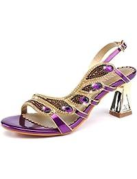 ZWME Peep Toe Tirantes De Diamantes De Imitación Strappy Stilettos Slingback Pump Low Mid Heel Shoes Party Sandals
