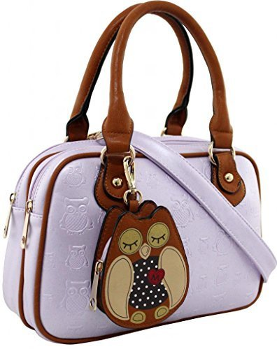 KukuBird Owl Coin Pouch detail Pattern Faux Leather Designer Boutique Totes Handbag LAVENDER