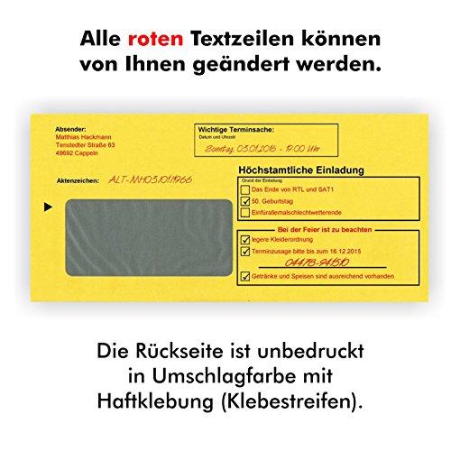 10 Geburtstagseinladungen Zustellung Einladungen für Erwachsene Geburtstag Brief und Umschlag Witzig Lustig Originell - 4