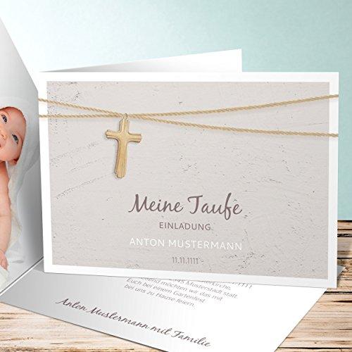 Einladung Zur Taufe Selber Machen, Holzkreuz 5 Karten, Horizontale  Klappkarte 148x105 Inkl. Weiße Umschläge, Braun