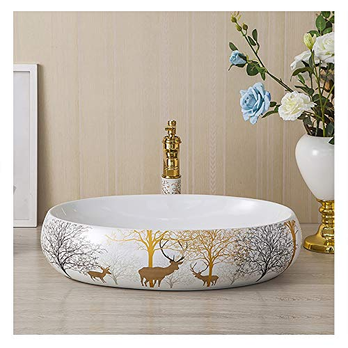 523/5000 lavabo moderno in ceramica , lavandino lavandino del bagno lavandino del lavabo in ceramica dipinta a mano in ceramica dipinta a mano artistica 58*38*14cm ( color : with accessories )