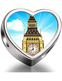 Rarelove Sterling Silver London big ben Heart Photo Charm Beads