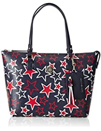 Tommy Hilfiger Love Medium Rev Zipped Tote Star, Cabas femme, Beige (Star Print), 13x26x36 cm (L x H P)