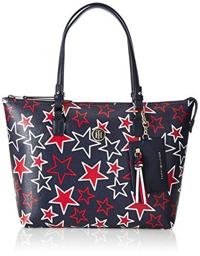 Tommy Hilfiger Damen Love Tommy Medium Rev Zipped Tote Star, Beige (Star Print), 13 x 26 x 36 cm (Tote Handtasche Beige Medium)