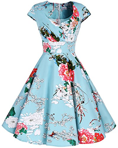 bbonlinedress 1950er Vintage Retro Cocktailkleid Rockabilly V-Ausschnitt Faltenrock Green Flower M -