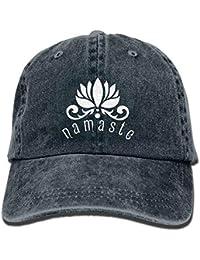 BAOLANZHANG Namaste with Lotus Flower Unisex Adjustable Cotton Denim Hat  Washed Retro Gym Hat 3ba60c54e47