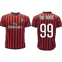 Maglia Milan Ufficiale Personalizzata 2019 2020 AC Milan Adulto Bambino Nome e Numero a Scelta Personalizzabile (12 Anni)
