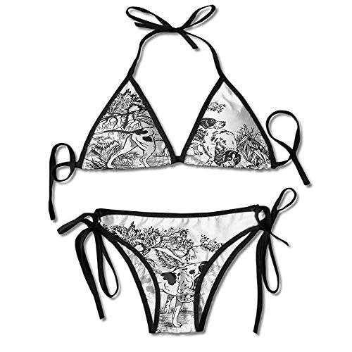 Custom Bikini Wax Sally Hansen in The Forest Monochrome Drawing Printing Bikini