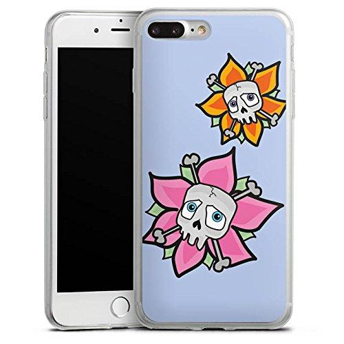 Apple iPhone 8 Plus Slim Case Silikon Hülle Schutzhülle Blume Totenkopf Skull Silikon Slim Case transparent