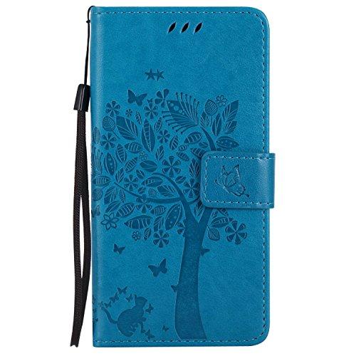 Guran® PU Leder Tasche Etui für Microsoft Lumia 640 Dual-SIM Smartphone Flip Cover Stand Hülle und Karte Slot Case-blau