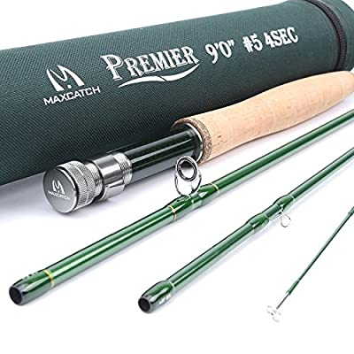 Maxcatch 3-12wt Medium-fast Action 4-Piece Premier Fly Rod-IM8 Carbon Blank for High Performance,with AA Cork Grip Hard Chromed Guides and Cordura Tube by Maxcatch