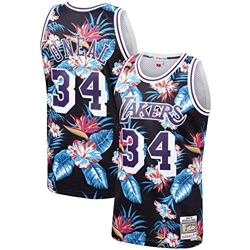 HS-MANWEI Basketball-Sweatshirt Jersey Lakers 34 O'neill New Fabric Bamboo Charcoal Atmungsaktiv Schnelltrocknendes Herren-Sweatshirt Für Erwachsene,Blackflower,L -