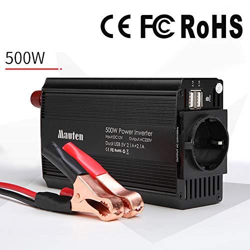 GMtes 500W Auto-Universal-Wechselrichter DC 12V zu AC 220V, mit Deutschland-Anschlussdosen und 2 2,1-A-USB-Ladeanschlüssen, Schutz vor Fehlern