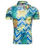 T-Shirt Top Casual Button Down Down Manica Corta Camicia Hawaiana Summer Slim Colletto Stampato Allentato (XXL,16- Blu)