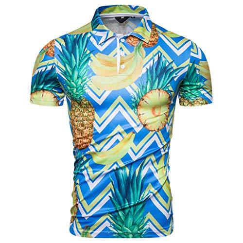 Bedruckte Seide Organza-kleid (Herren Hemd Kurzarm Shirt Sommer Hawaiihemd für Strand Freizeit,Blau,M/L/XL/XXL)
