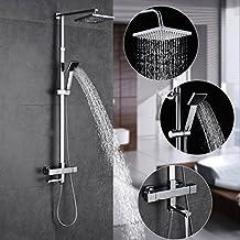Columna ducha termostatica pared,Auralum® Set de ducha termostatico con Alcachofas móviles ducha mango + alcachofa ducha lluvia cuadrada + ducha grifo cascada conjunto ducha termostatica,820-1400mm