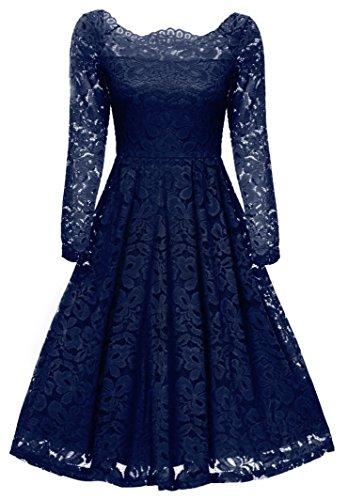 Gigileer 50s Damen Kleider Spitzenkleid Schulterfrei Langarm knielang festlich Cocktail Abendkleid Navy S (Blaues Kleid Für Frauen Hochzeit)