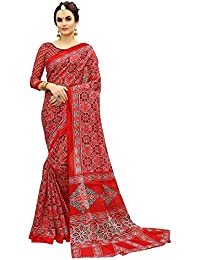 Glory Sarees Women's Bhagalpuri Art Silk Saree(gloryart11_red)