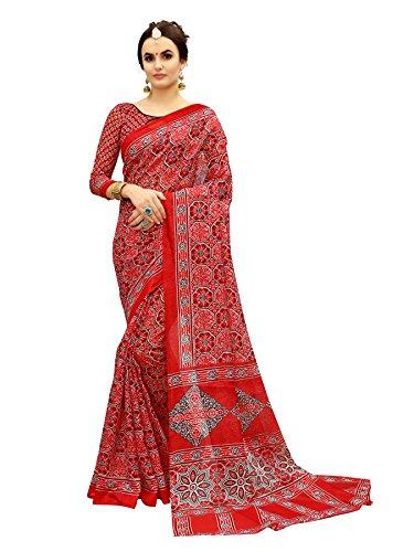 Glory Sarees Women\'s Bhagalpuri Art Silk Saree(gloryart11_red)
