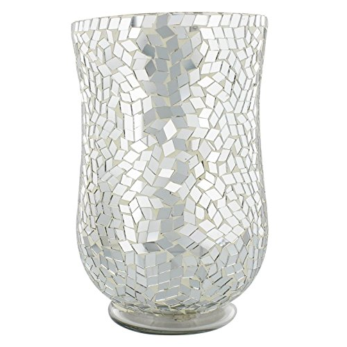 Silver Mirror Glass Mosaic Design Decorative Vase 20cm Hestia Home Collection