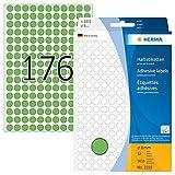 HERMA 2215 Vielzweck-Etiketten / Farbpunkte rund (Ø 8 mm, 32 Blatt, Papier, matt) selbstklebend, permanent haftende Markierungspunkte zur Handbeschriftung, 5.632 Klebepunkte, grün