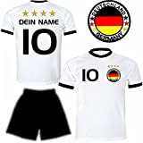 Deutschland Trikot + Hose mit GRATIS Wunschname + Nummer + Wappen Typ #D26 im EM / WM weiss - Geschenke für Kinder,Jungen,Baby,.. Fußball T-Shirt personalisiert als Weihnachtsgeschenk