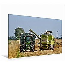Premium Textil-Leinwand 120 cm x 80 cm quer, Weizenernte   Wandbild, Bild auf Keilrahmen, Fertigbild auf echter Leinwand, Leinwanddruck: Erntezeit (CALVENDO Technologie)