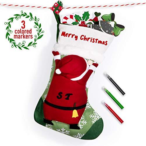 Joyjoz Nikolausstrumpf mit 3 farbigen Markierungen, 3D Handmade Personalisiert Large Weihnachtsstrumpf Nikolausstiefel Weihnachtsdekoration 53cm (Santa)