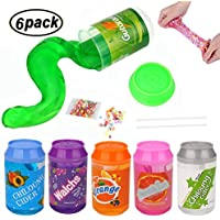 Swallowzy Crystal Slime, Magic Clear Slime Soft Putty Clay Scented Stress Relief Sludge DIY Toy for Kids Adult, 6 Pack with 2 Straws and 1 Fruit Slice