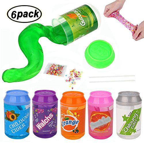 Swallowzy Crystal Slime Kit, Clear Schleim Weiche Kitt Fluffy Slime Stress Relief Schlamm DIY Spielzeug für Kinder Erwachsene, 6Stück Schleim + 2Stück Strohhalmen + 1Stück Fruit Slice