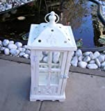 Splendido Bianco Lanterna in legno con tetto a cupola 45,5cm grande. 10013